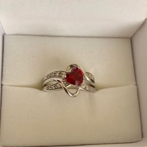Ruby and Sapphire Sterling Silver Ring size 7